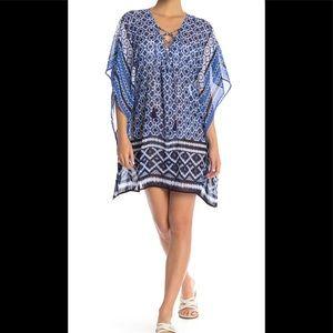 Tommy Bahama Shibori lace up tunic coverup